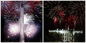 Washington Monument and White House Fireworks Washington DC